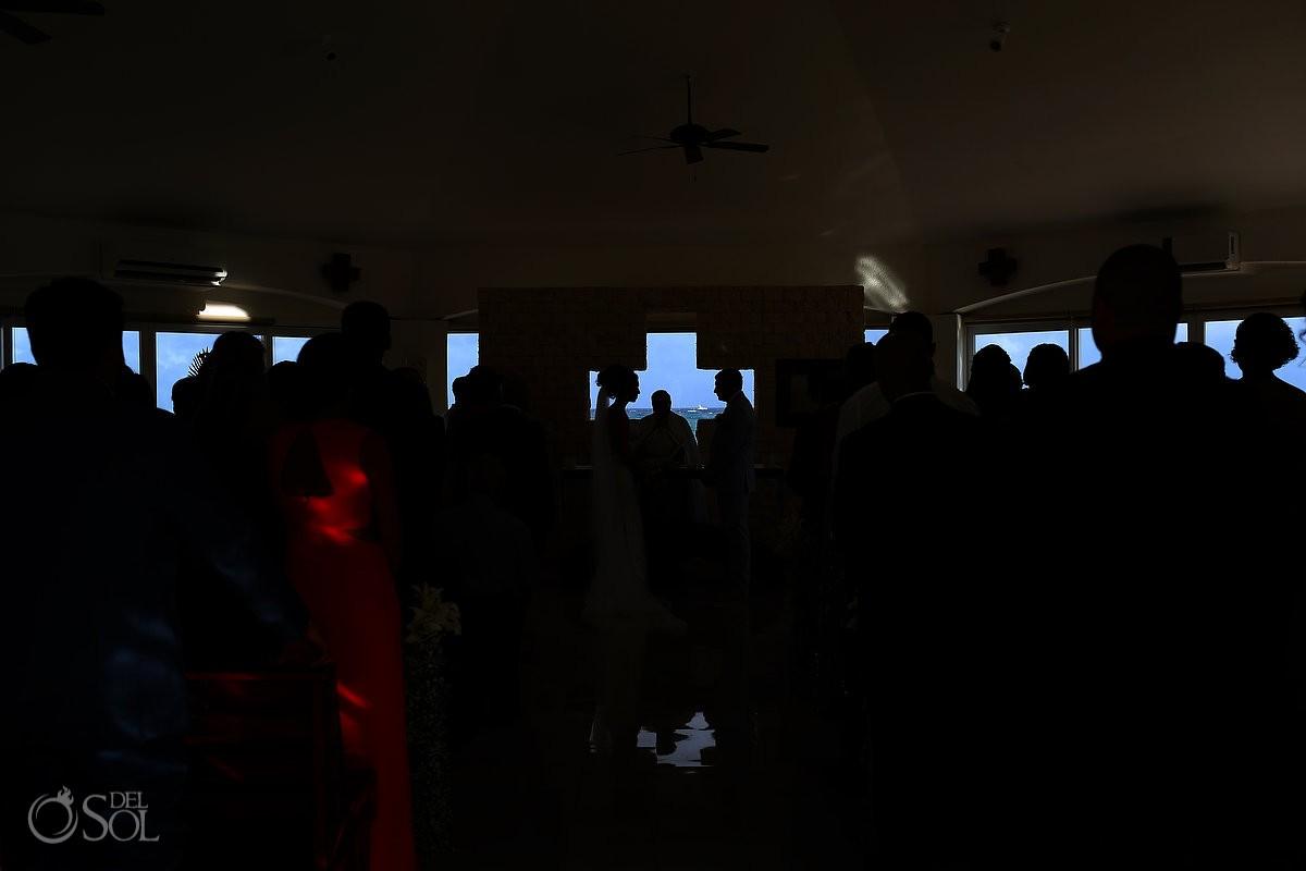 Artistic silhouette Coptic Christian Orthodox Wedding San Charbel Chapel Hard Rock Hotel Riviera Maya