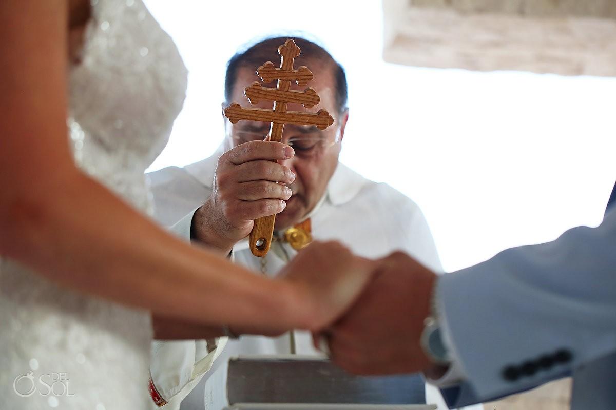 priest blessing hands orthodox cross Coptic Christian Wedding San Charbel Chapel Hard Rock Hotel Riviera Maya