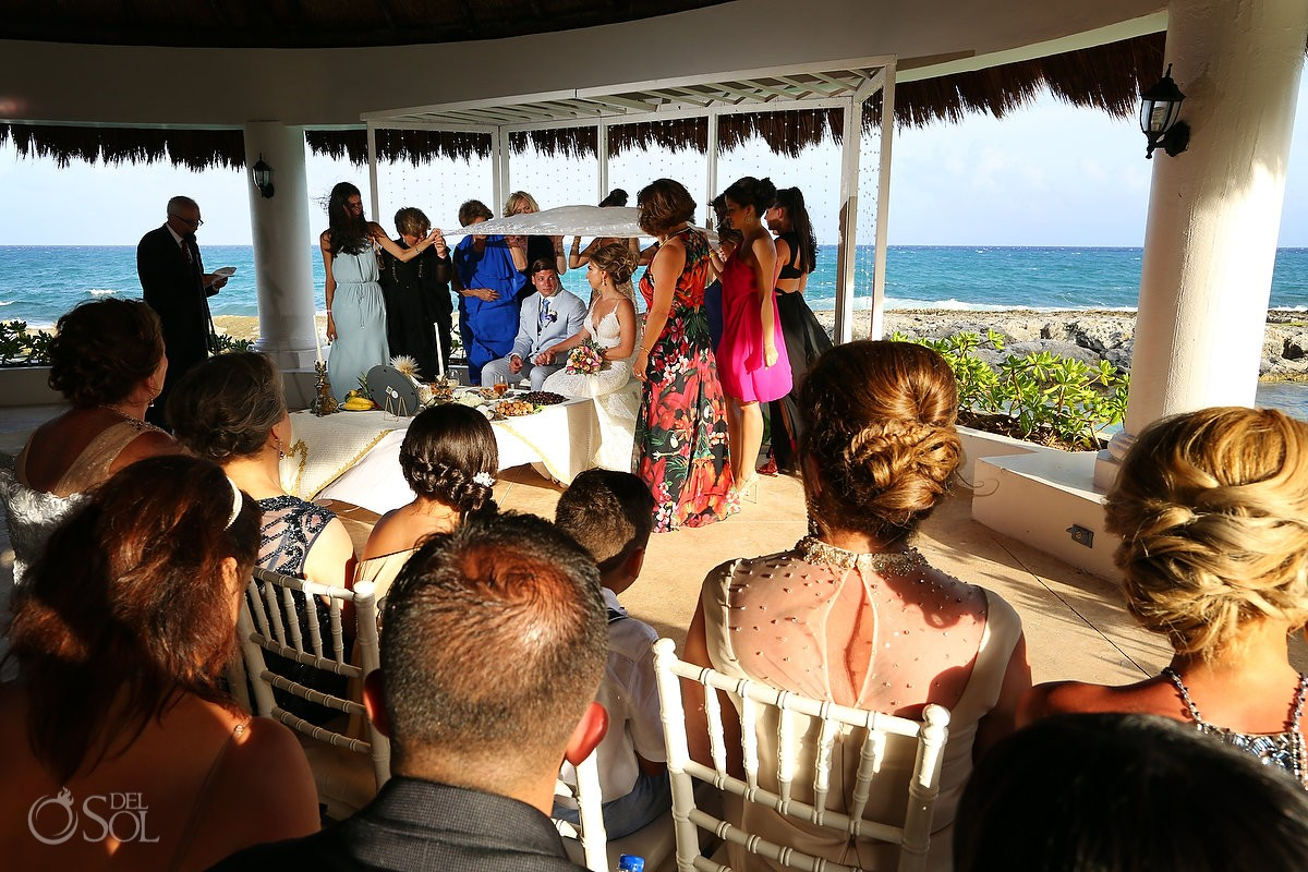 Sofreh Aghd Persian destination wedding ceremony Hard Rock Hotel Riviera Maya gazebo, Mexico