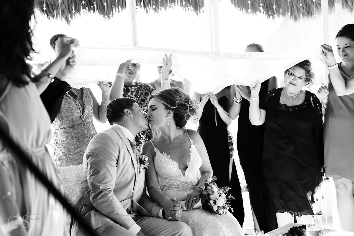 first kiss Persian destination wedding ceremony Hard Rock Hotel Riviera Maya gazebo, Mexico
