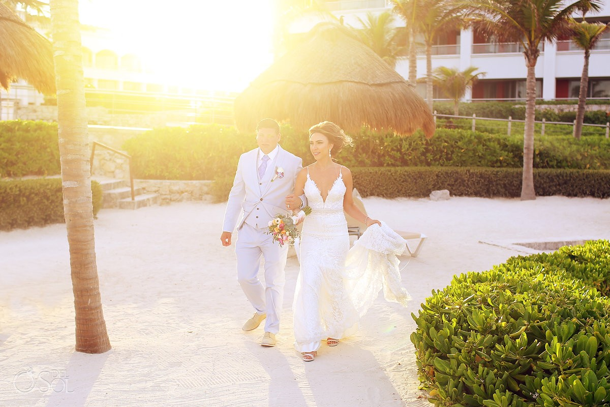 sunset beach wedding portrait Hard Rock Hotel Riviera Maya, Mexico