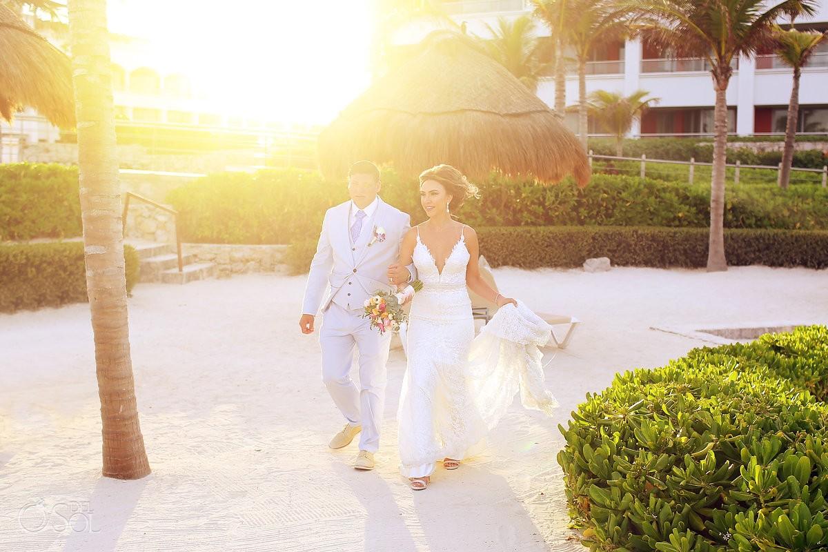 sunset beach wedding portrait Hard Rock Hotel Riviera Maya, Mexico