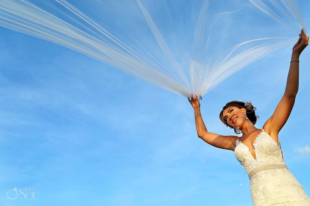 sunset beach bride veil portrait Hard Rock Hotel Riviera Maya, Mexico