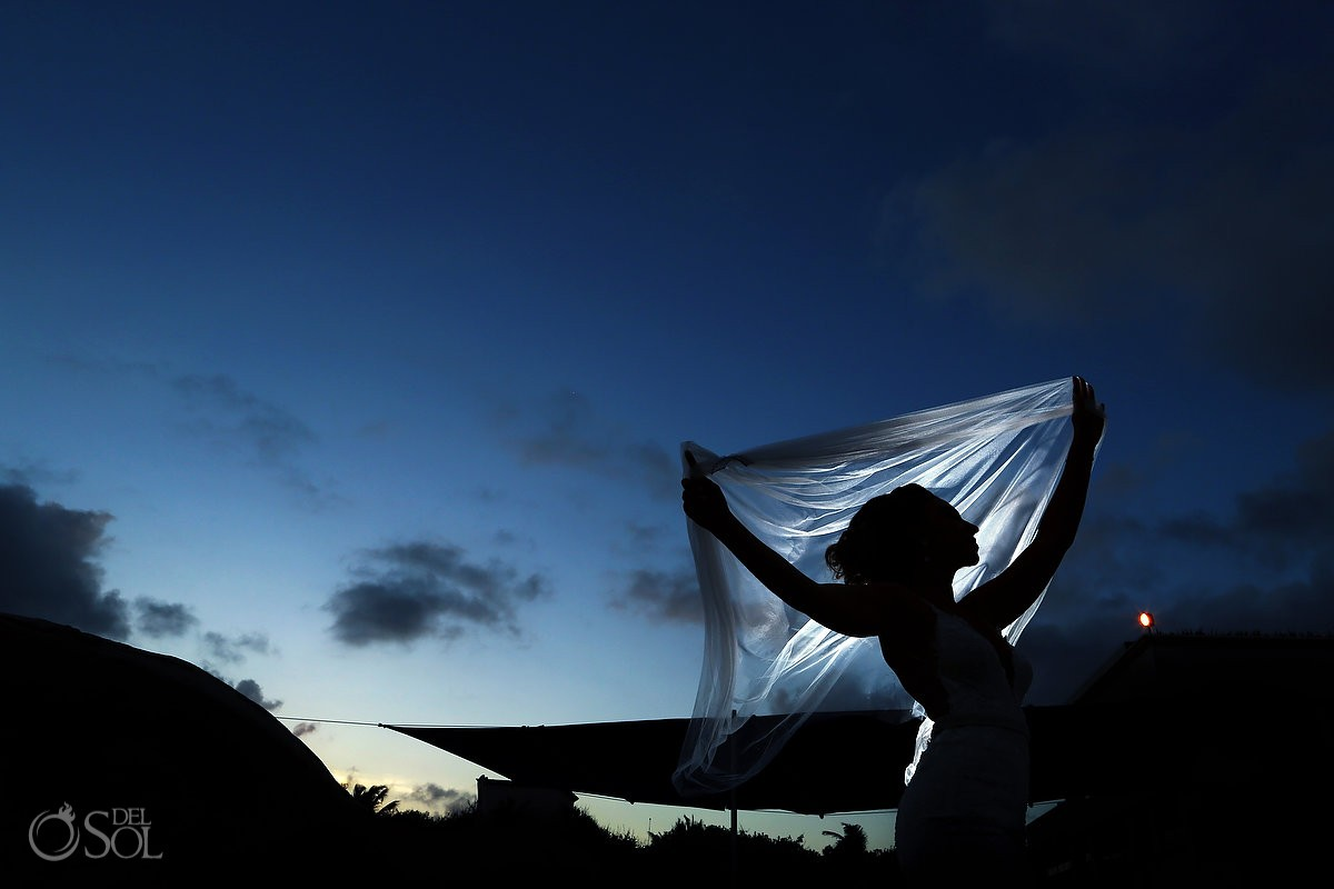 Artistic wedding bride bridal portrait silhouette Destination Wedding Hard Rock Hotel Riviera Maya