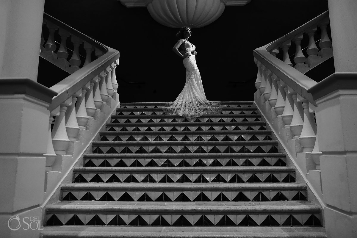 monochrome bridal portrait Destination Wedding Hard Rock Hotel Riviera Maya