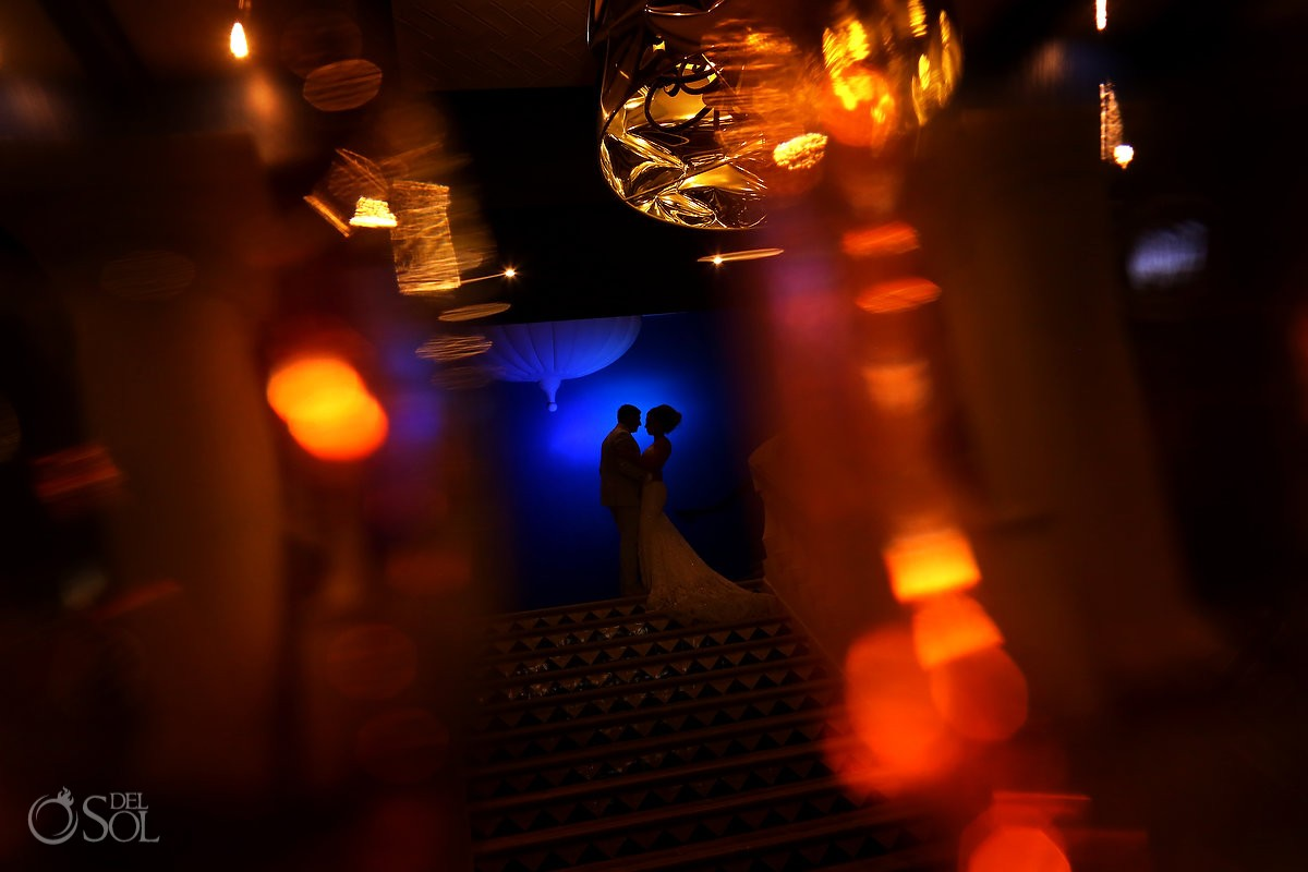 Artistic wedding portrait silhouette Destination Wedding Hard Rock Hotel Riviera Maya
