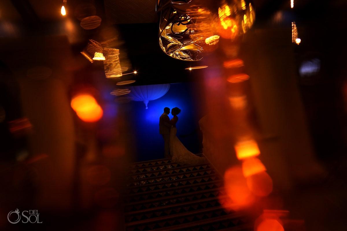 Artistic wedding portrait silhouette Destination Wedding Hard Rock Hotel Riviera Maya