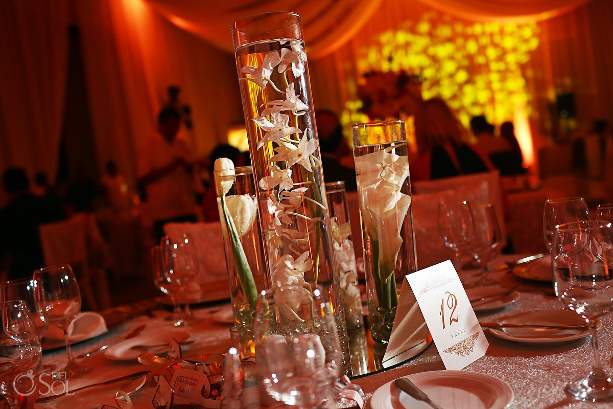 Table settings Destination Wedding Reception Hard Rock Hotel Riviera Maya Ballroom