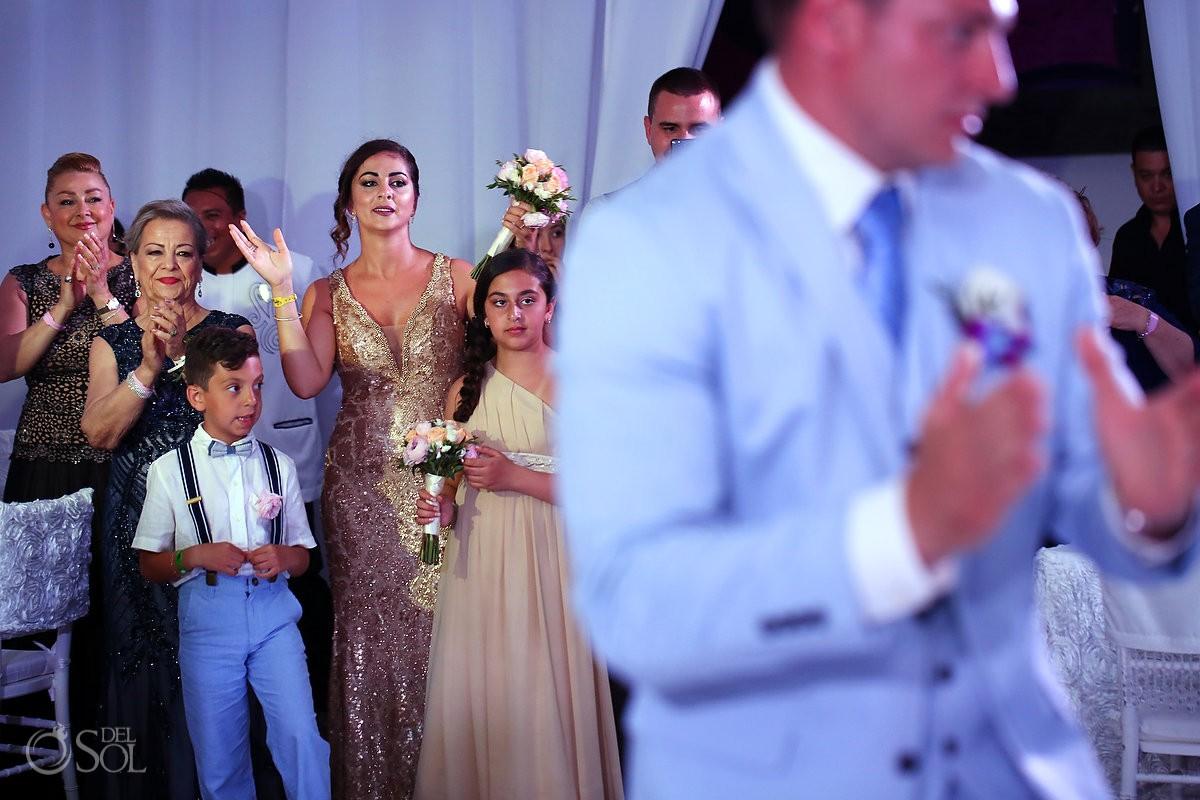 guests watching first dance Destination Wedding Reception Hard Rock Hotel Riviera Maya Ballroom
