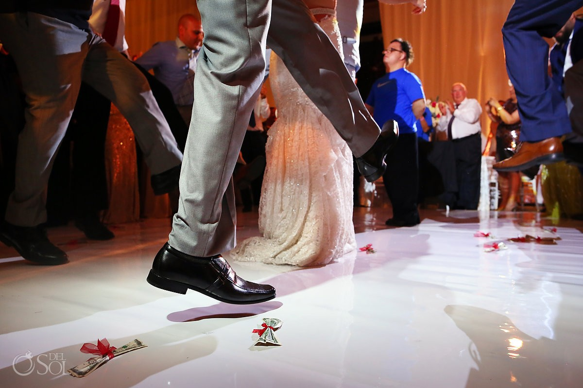 dancing two dollar bills money dance Destination Wedding Reception Hard Rock Hotel Riviera Maya Ballroom