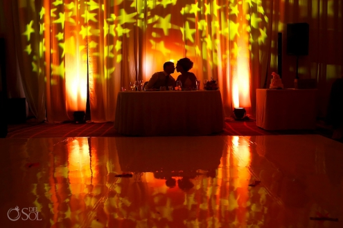 Artistic portrait stars light projection Destination Wedding Reception Hard Rock Hotel Riviera Maya Ballroom