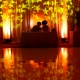 Artistic portrait stars light projection Destination Wedding Reception Hard Rock Hotel Riviera Maya Ballroom