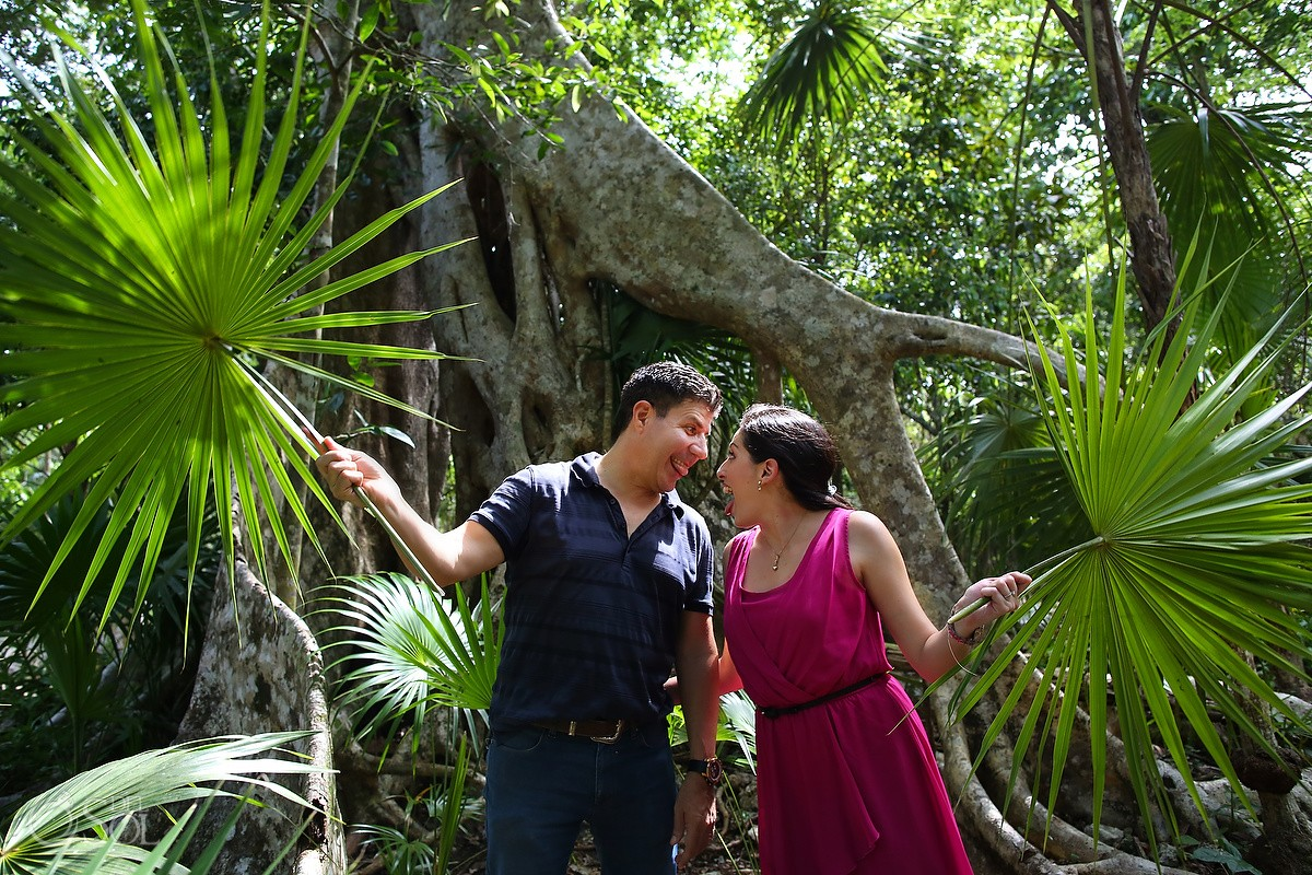 cenote photo adventure cute Jungle engagement portraits Riviera Maya Mexico