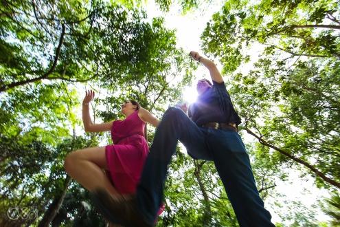 dynamic jumping cenote photo adventure Jungle engagement portraits Riviera Maya Mexico