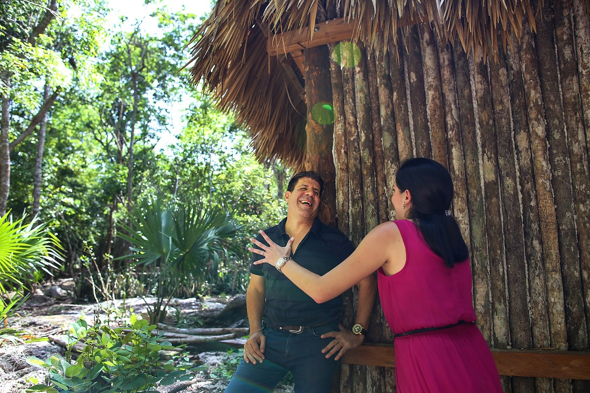 cenote photo adventure Jungle engagement portraits Riviera Maya Mexico
