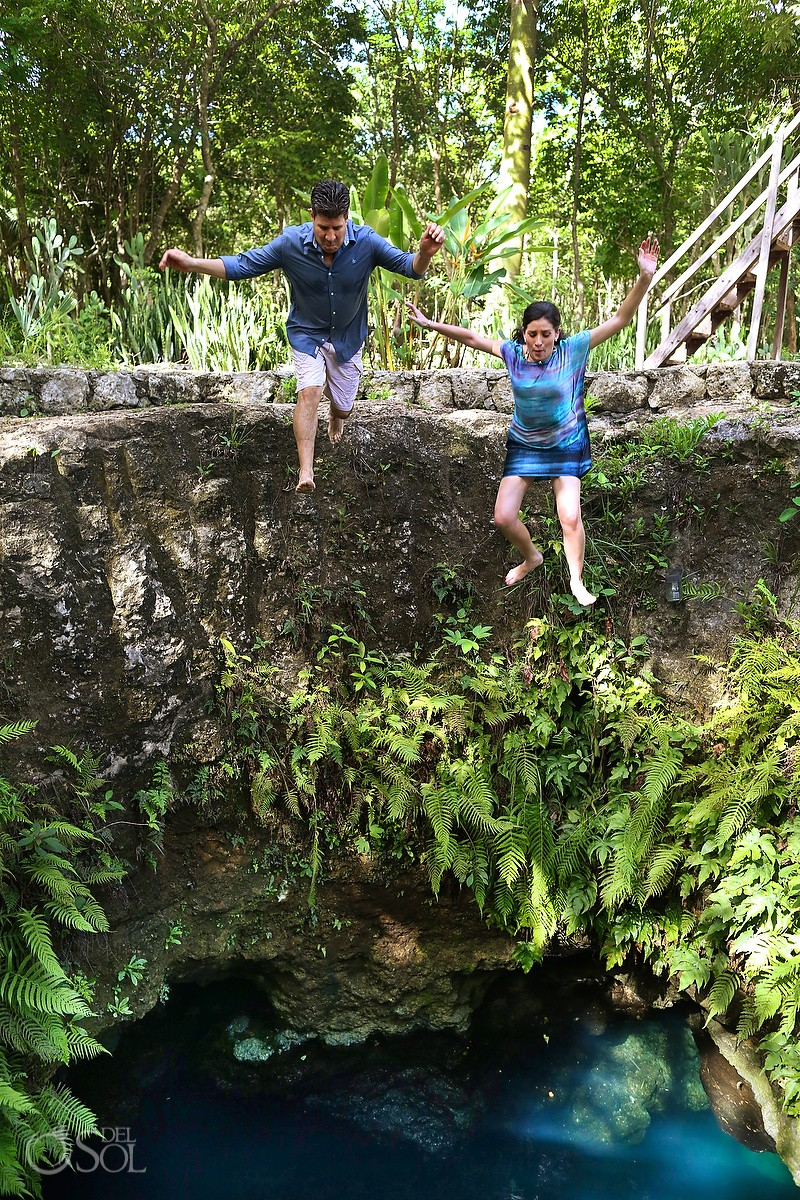 fun cenote jump photo adventure Jungle engagement portraits Riviera Maya Mexico