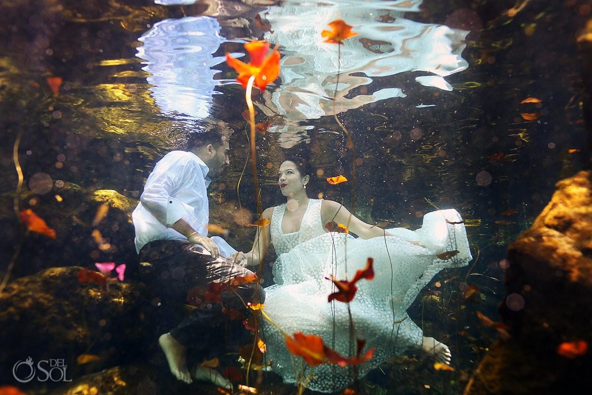 Riviera Maya cenote trash dress photographs
