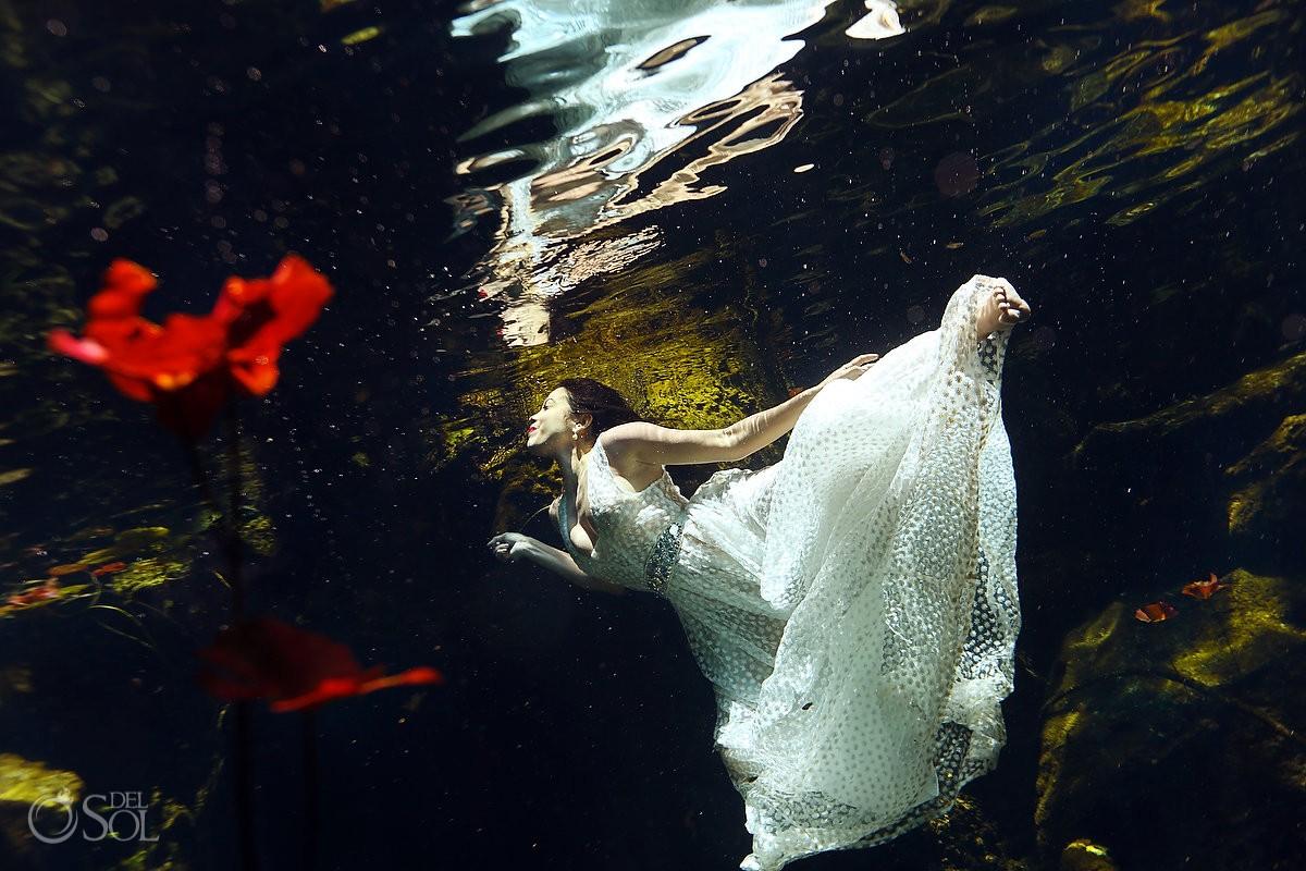 Riviera Maya cenote trash dress bride