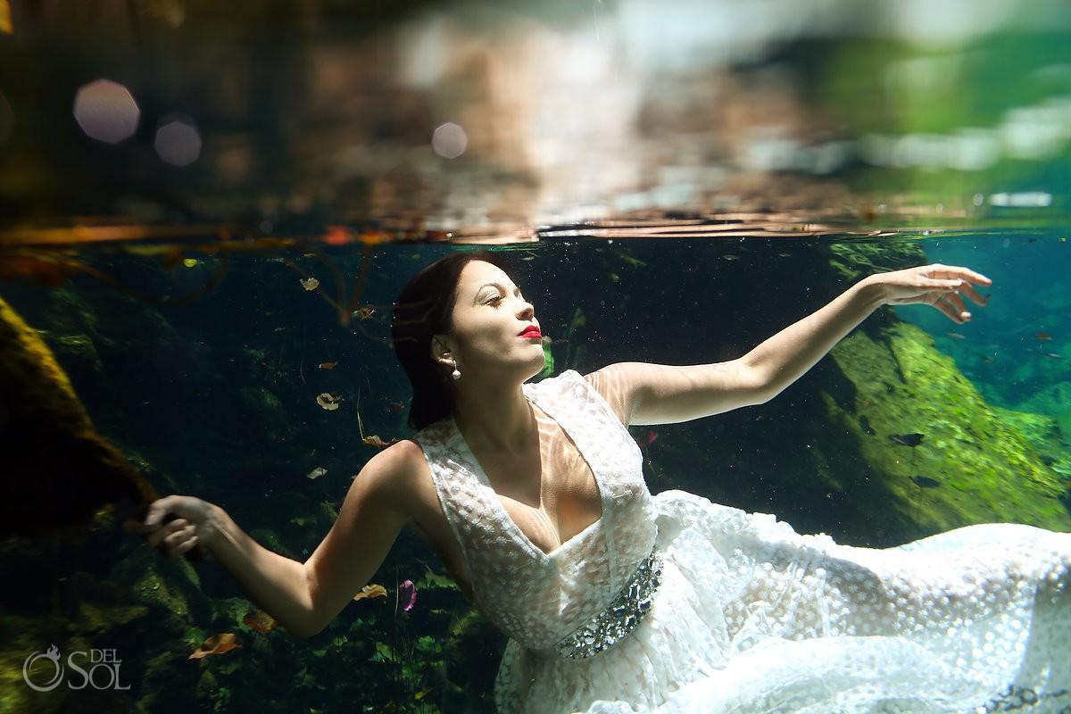 Riviera Maya cenote trash dress photos