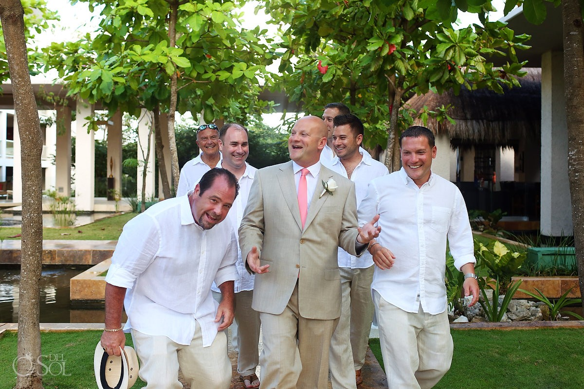 groom and groomsmen at mexican destination wedding