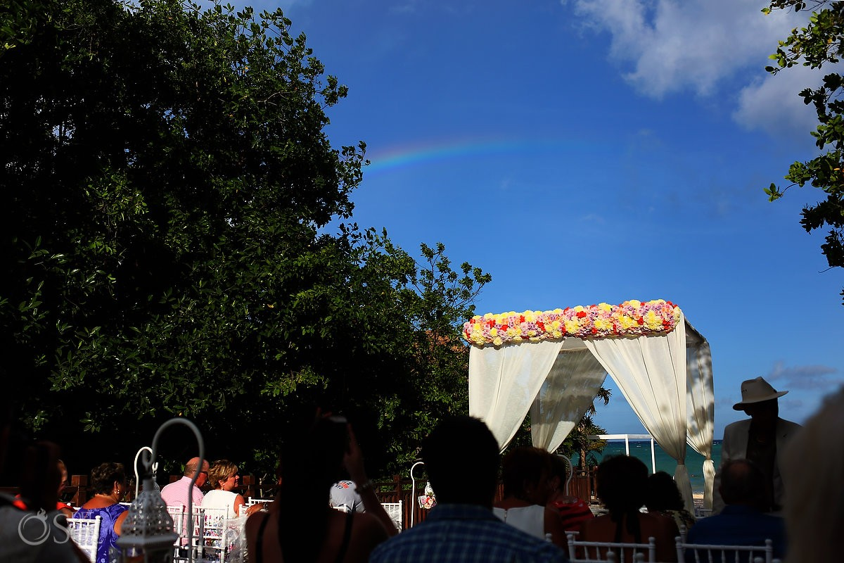 rainbow over the destination wedding ceremony at paradisus playa del carmen