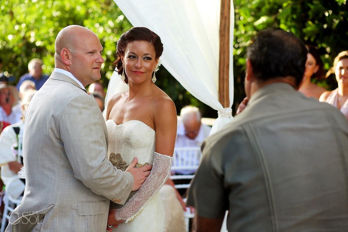 bride and groom at destination wedding at paradisus playa del carmen