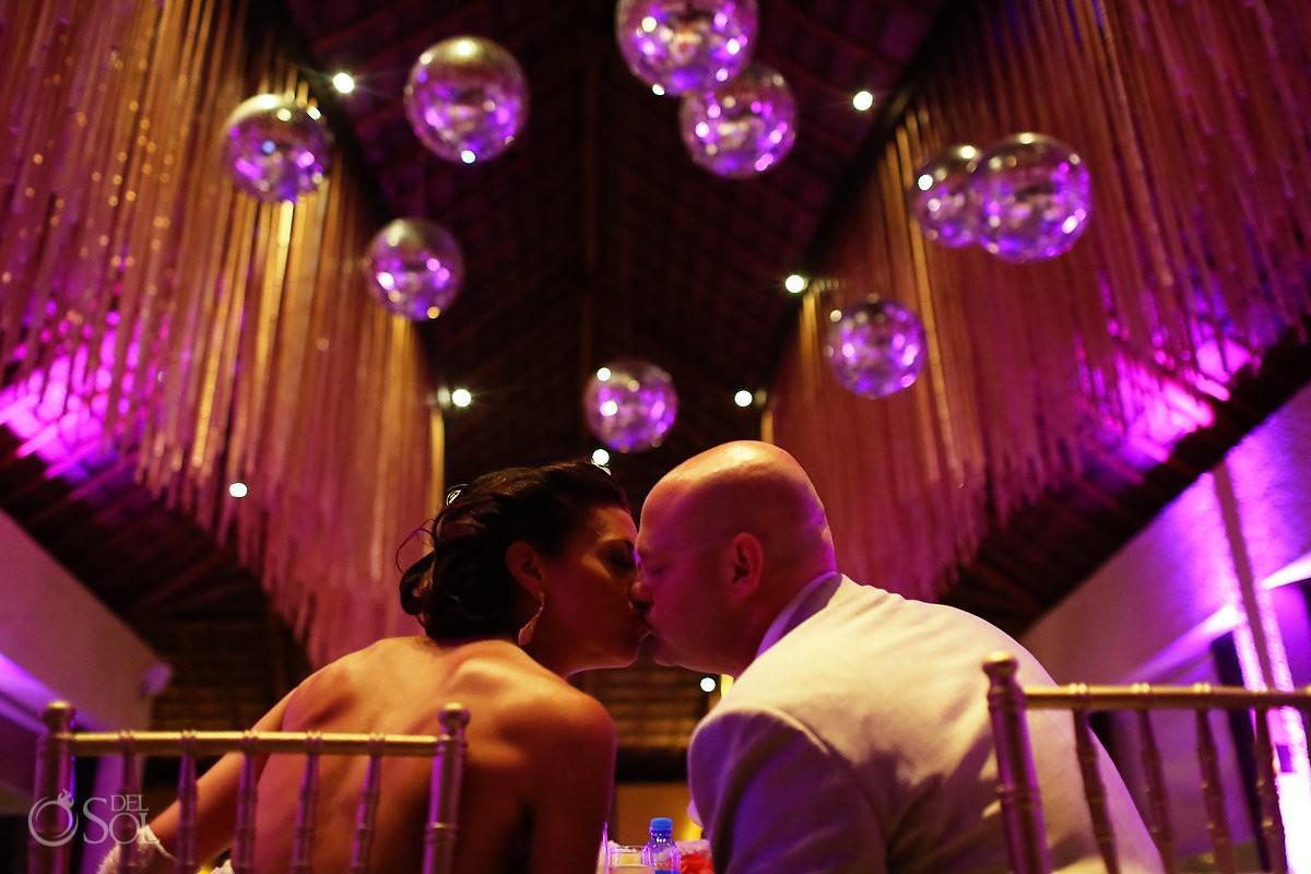 paradisus esmeralda bride and groom kiss at the reception