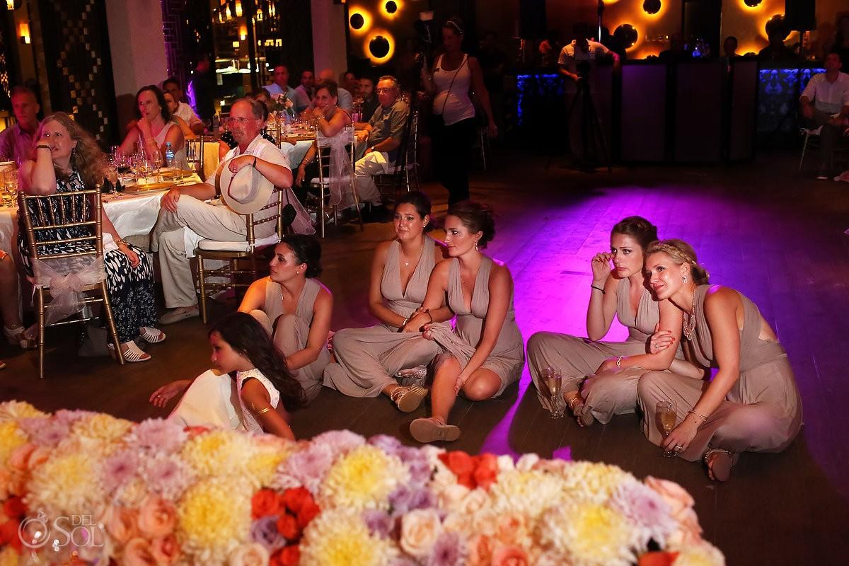 paradisus esmeralda bridesmaids cry at wedding reception