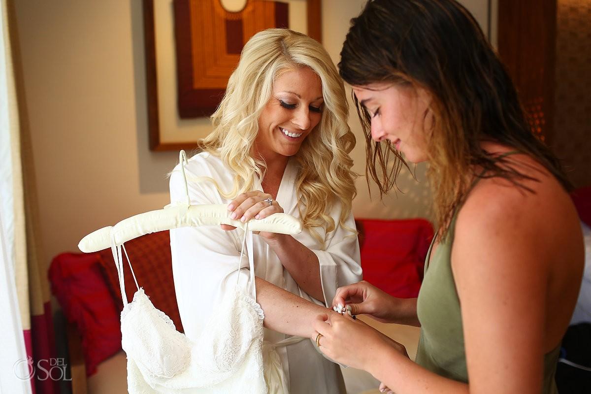 Bride destination wedding getting ready Secrets Akumal, Riviera Maya, Mexico