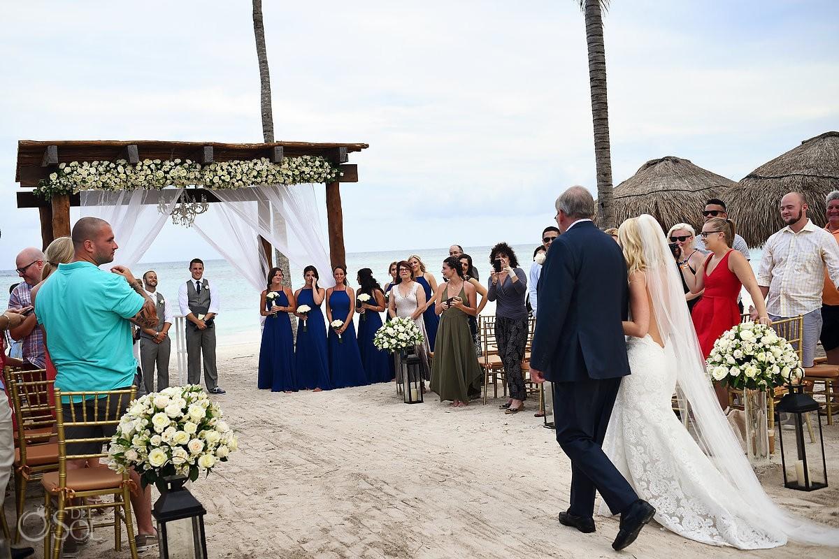 first look, bride entrance destination wedding beach Secrets Akumal, Riviera Maya, Mexico
