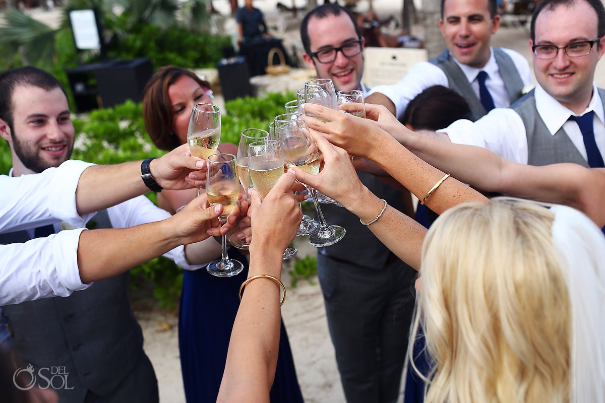 celebration after beach wedding ceremony champagne toast, Secrets Akumal, Riviera Maya, Mexico