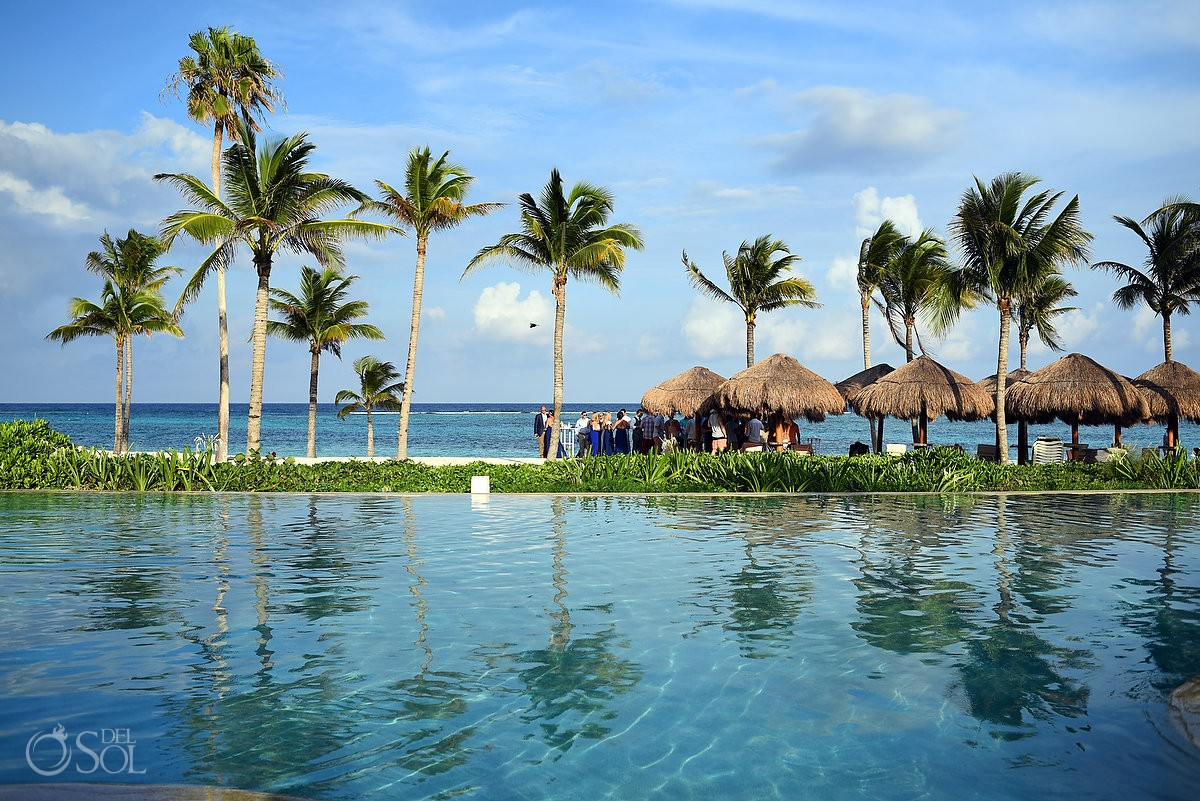 cocktail hour destination wedding Secrets Akumal, Riviera Maya, Mexico