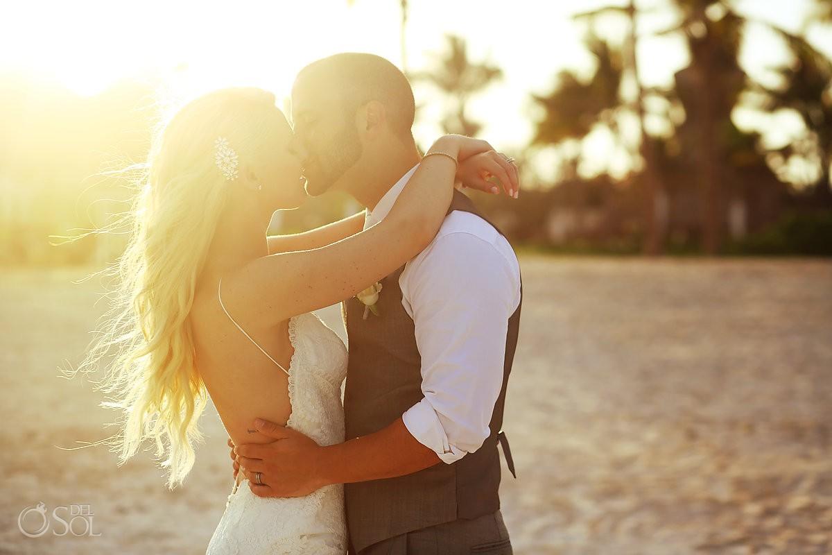 sunset beach wedding portrait Secrets Akumal, Riviera Maya, Mexico