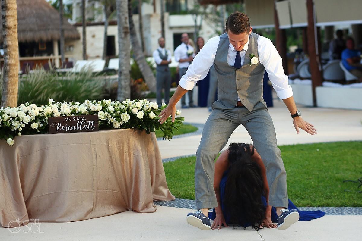 funny bridal party reception entrances, destination wedding reception Secrets Akumal poolside, Riviera Maya, Mexico