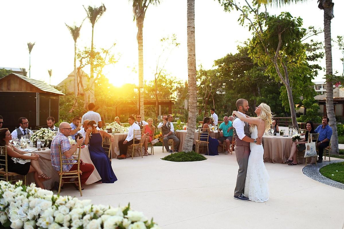 first dance destination wedding reception Secrets Akumal poolside, Riviera Maya, Mexico