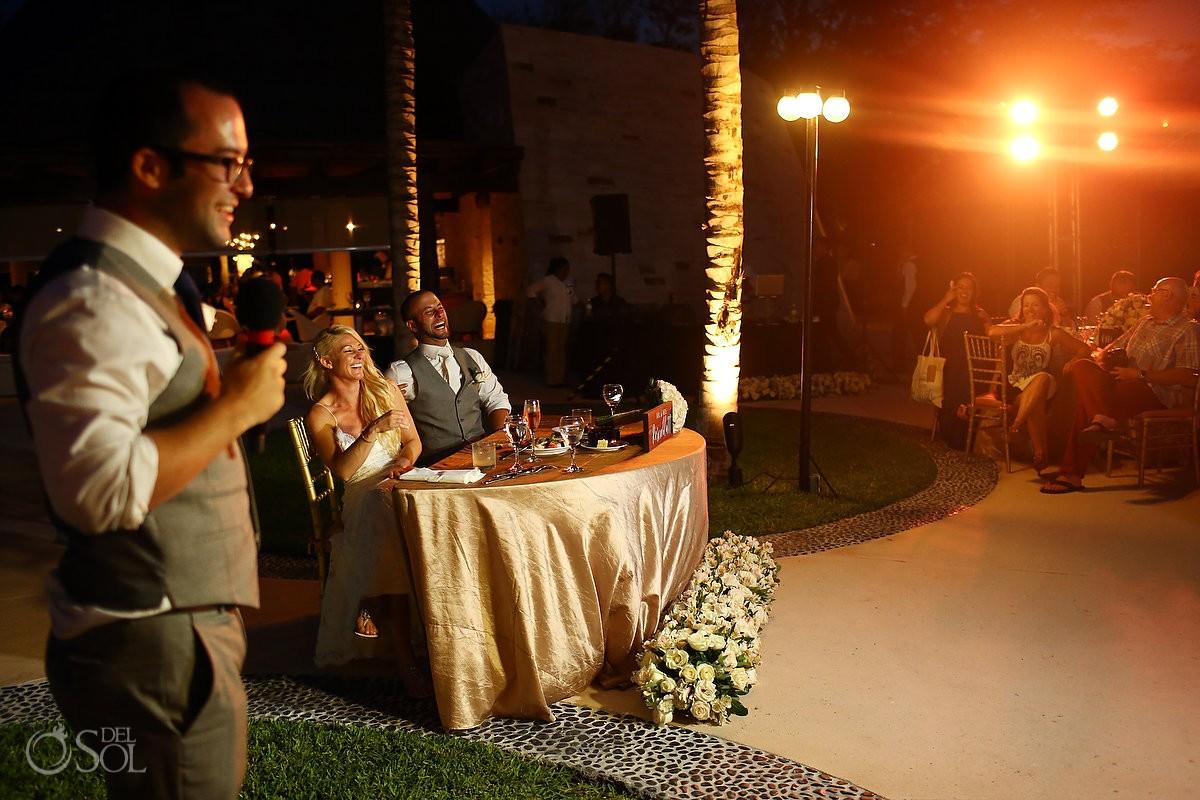 speeches destination wedding reception Secrets Akumal poolside, Riviera Maya, Mexico