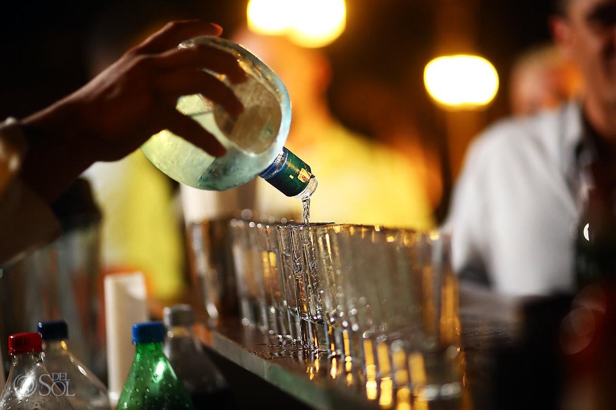 tequila shots destination wedding reception Secrets Akumal poolside, Riviera Maya, Mexico