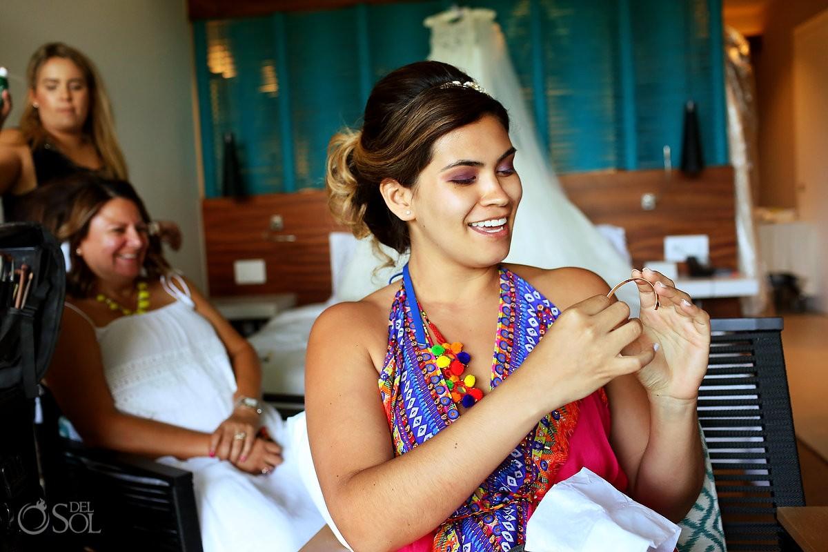 Wedding day gift idea, bracelet mystery GPS coordinates, destination wedding getting ready Grand Hyatt Playa del Carmen Mexico