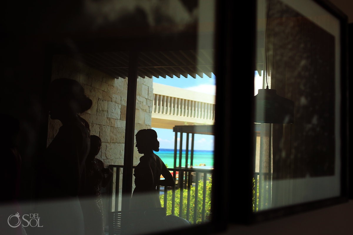 Creative bridal portrait silhouette, destination wedding getting ready Grand Hyatt Playa del Carmen Mexico