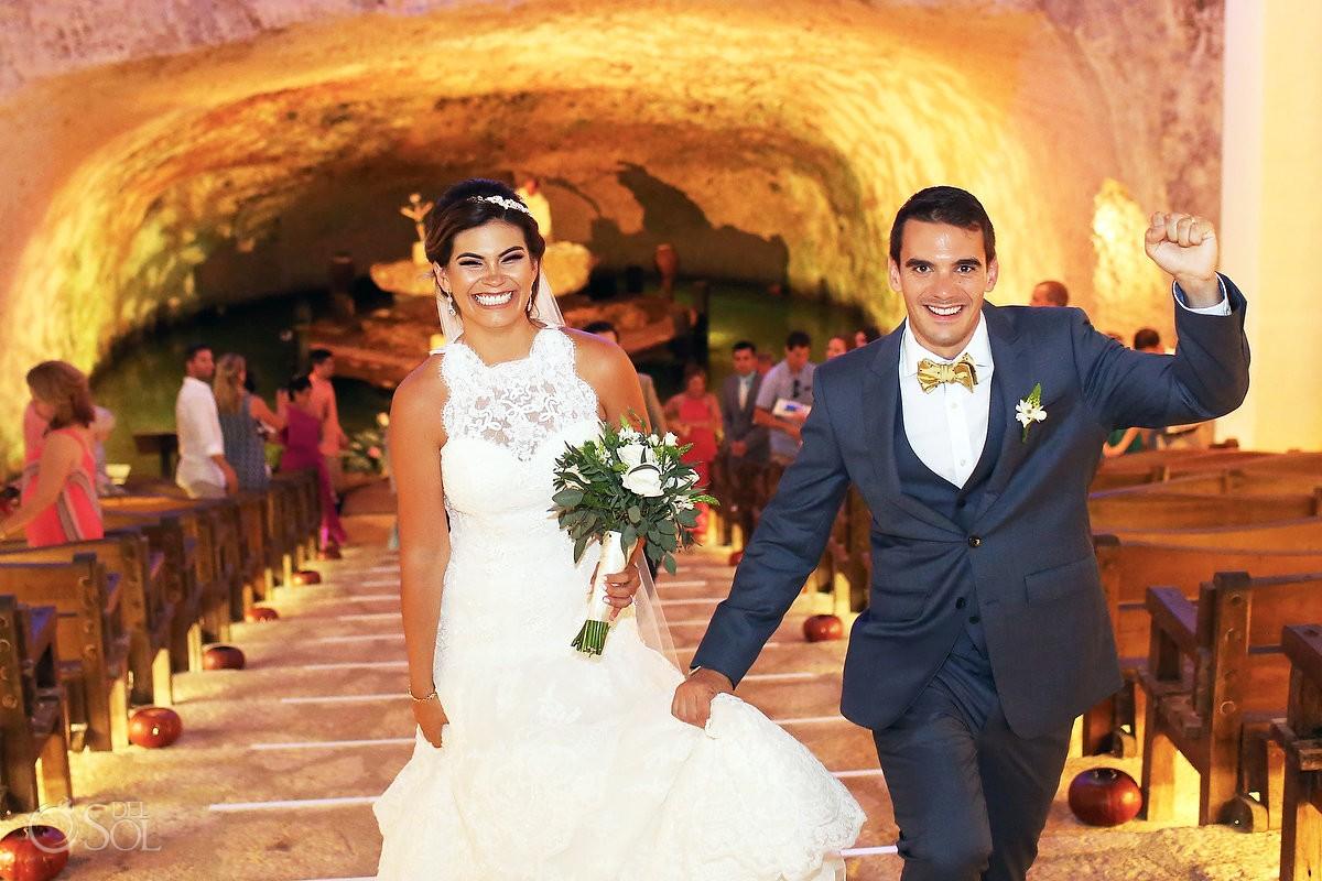 Ceremony exit celebration, Catholic Wedding Xcaret Chapel of Guadalupe cenote church, Playa del Carmen Mexico