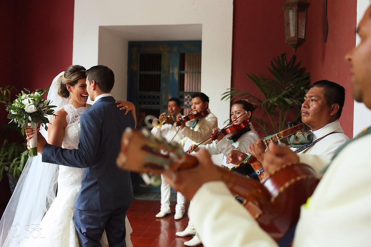 candid wedding portrait bride groom dancing Mariachi, Hacienda Xcaret Chapel of Guadalupe church, Playa del Carmen Mexico