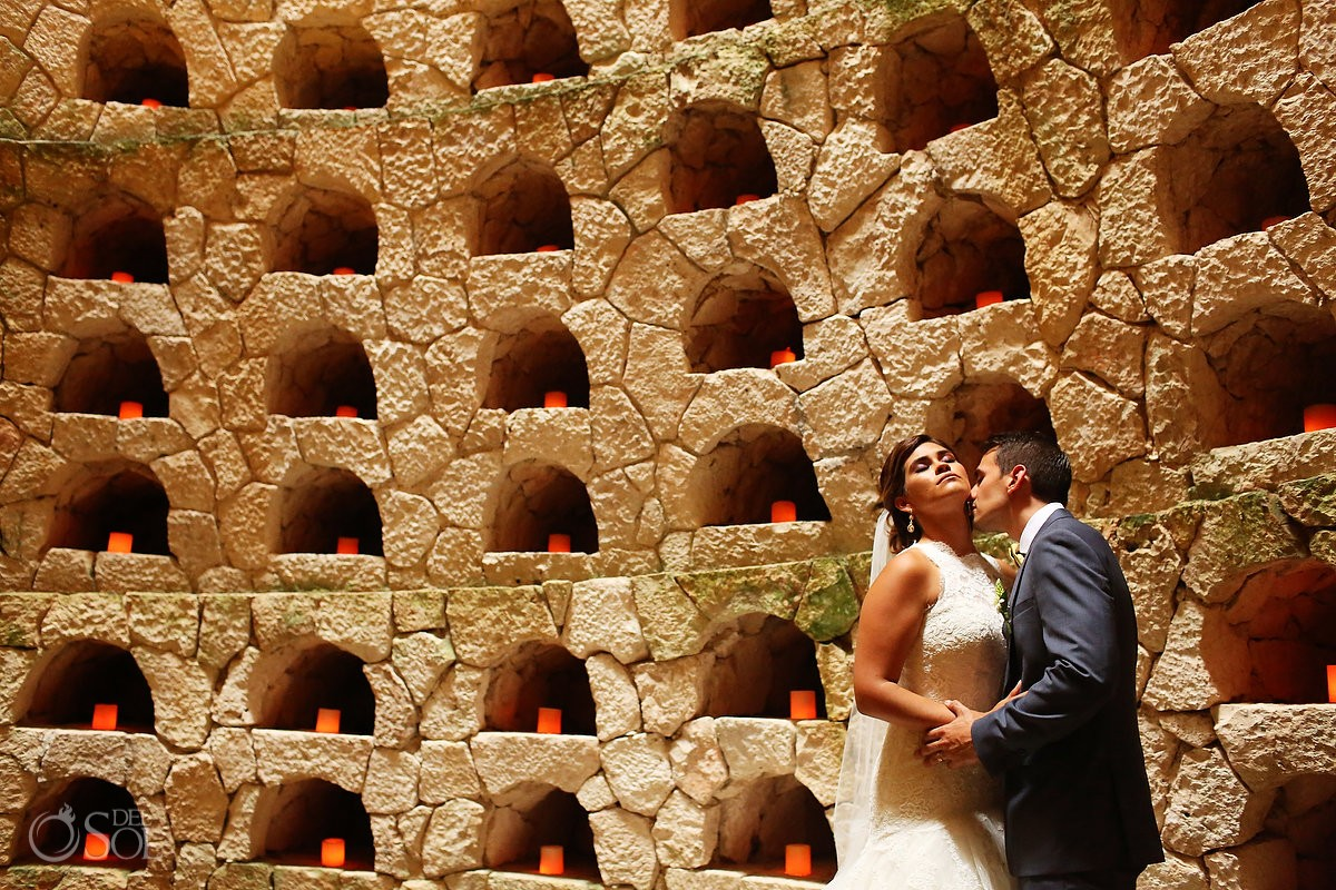 artistic wedding portrait candles in niches, amazing wedding location, Xcaret Park Playa del Carmen Mexico
