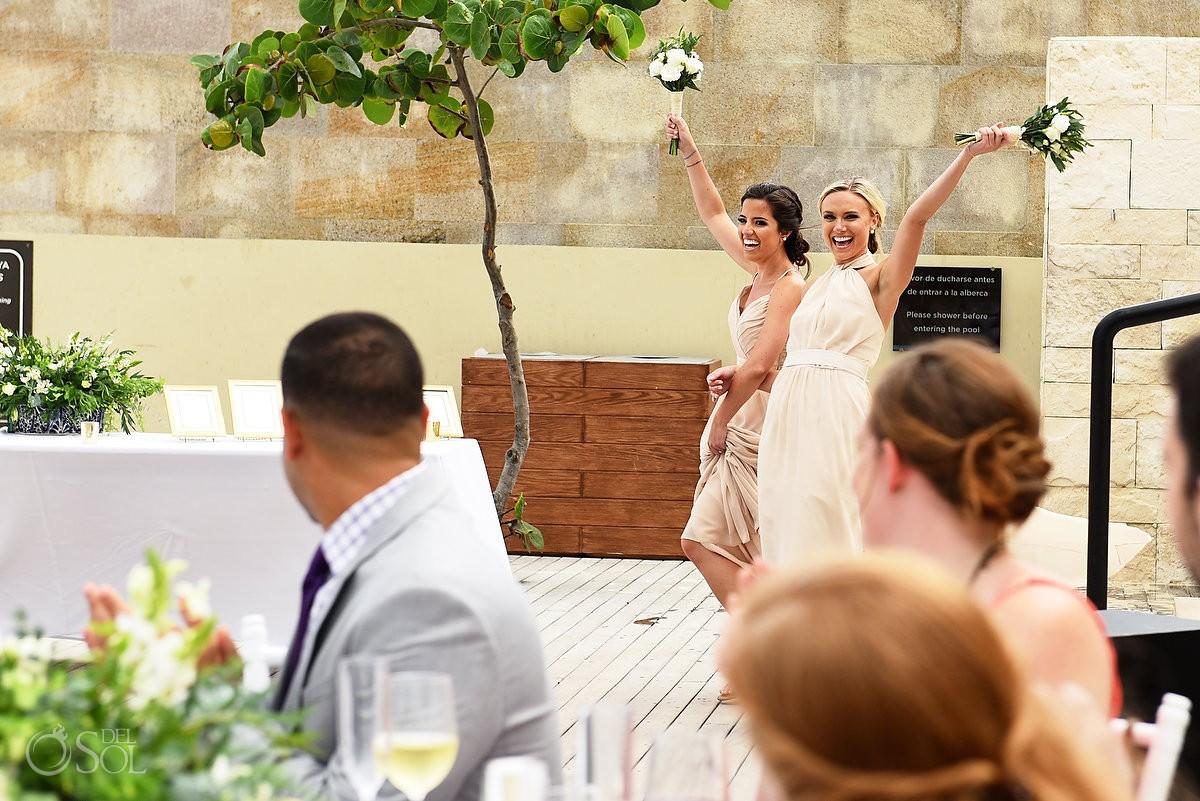 bridesmaid entrance destination wedding reception pool deck Grand Hyatt Playa del Carmen