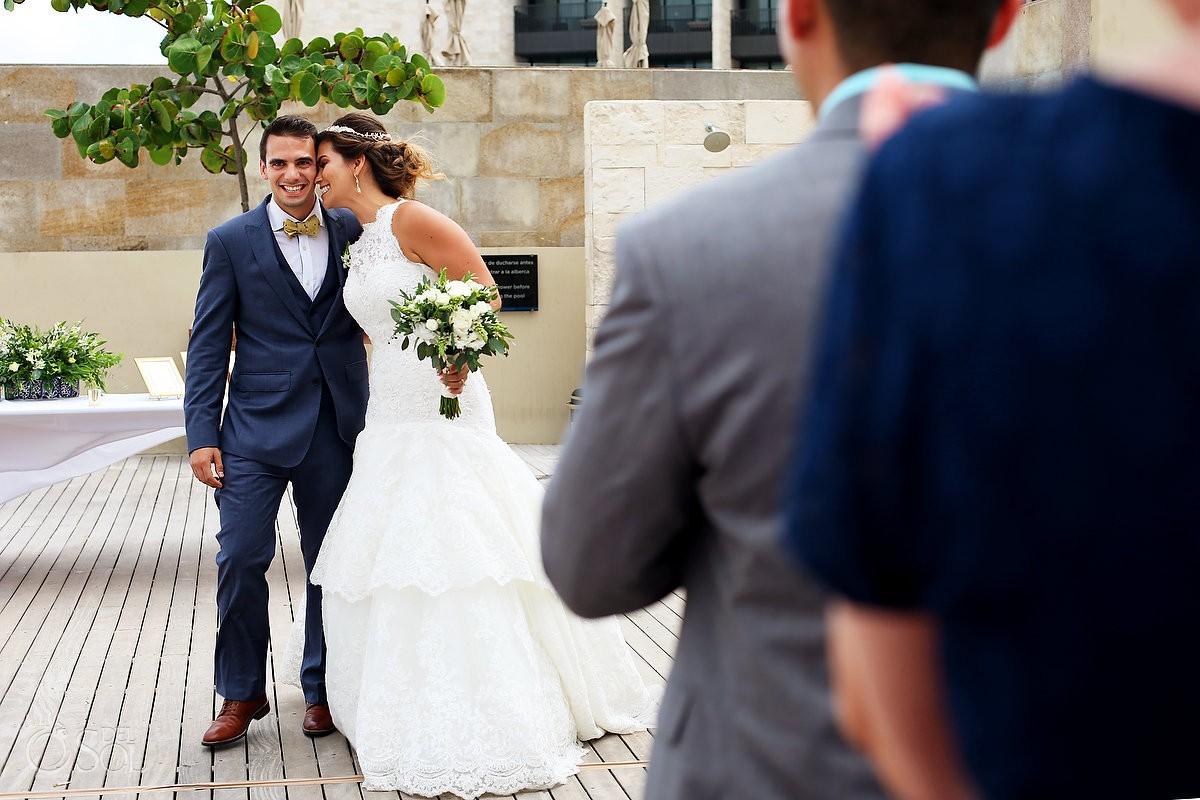 bride and groom entrance destination wedding reception pool deck Grand Hyatt Playa del Carmen