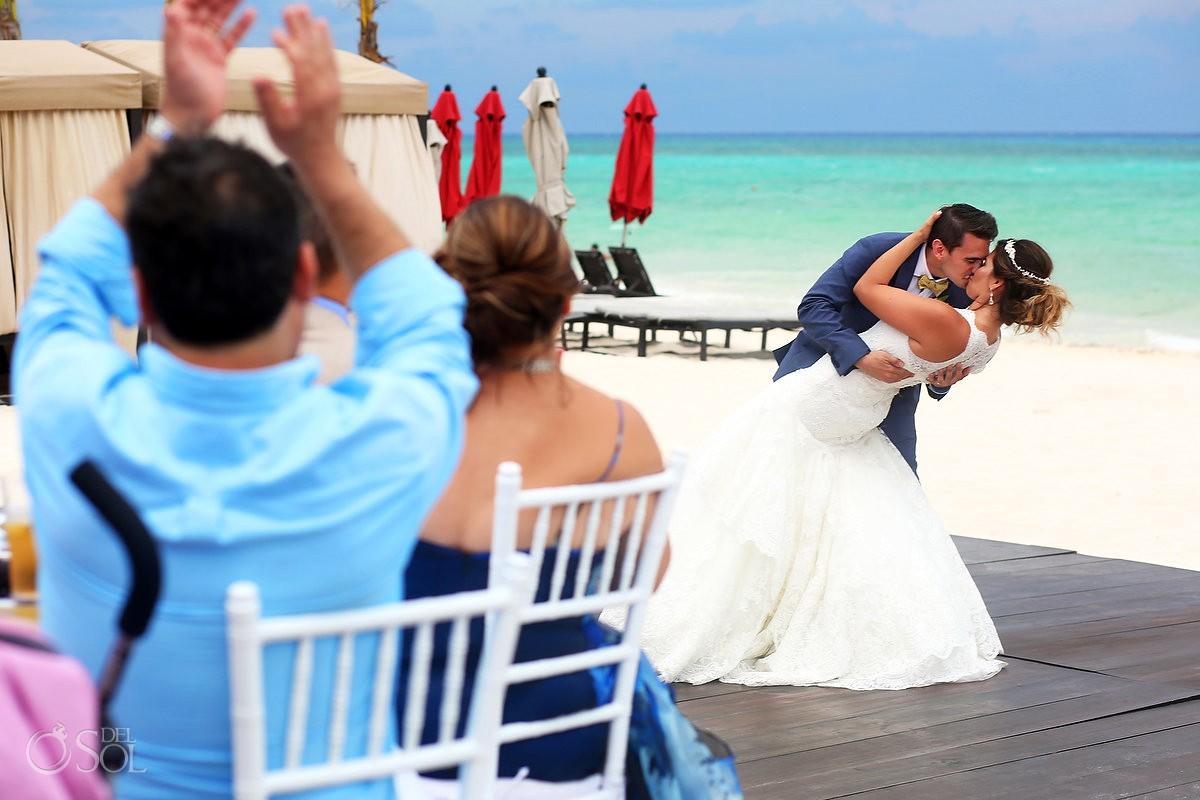first dance destination wedding reception pool deck Grand Hyatt Playa del Carmen