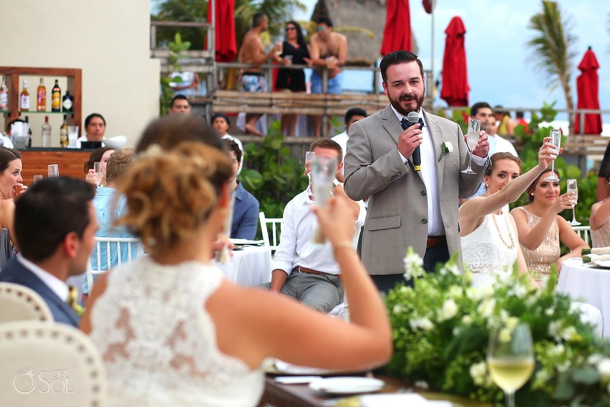 speeches destination wedding reception pool deck Grand Hyatt Playa del Carmen