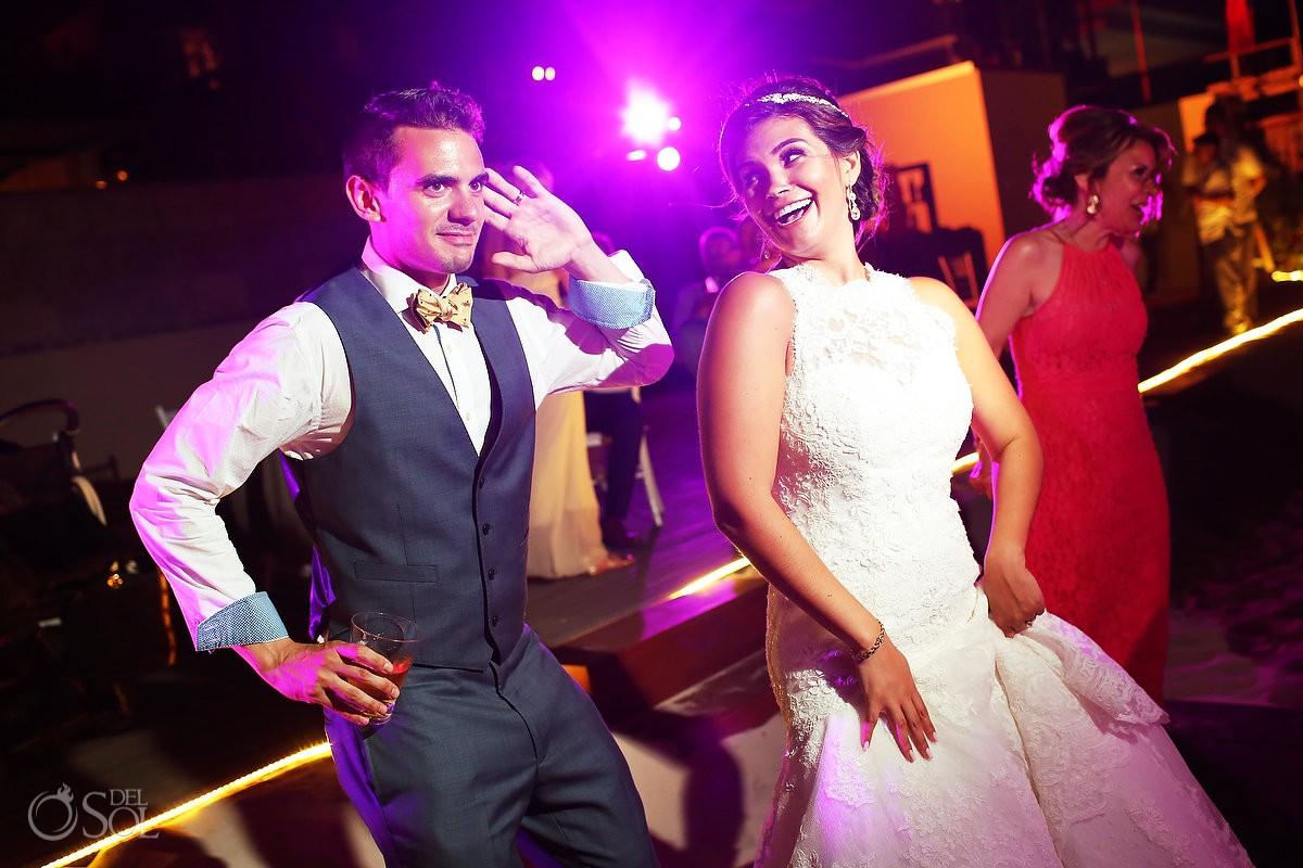 bride and groom dancing Destination Wedding Reception Pool deck Grand Hyatt Playa del Carmen