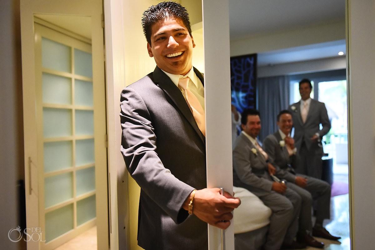 creative groom getting ready candid portrait, getting ready Paradisus La Perla, Playa del Carmen