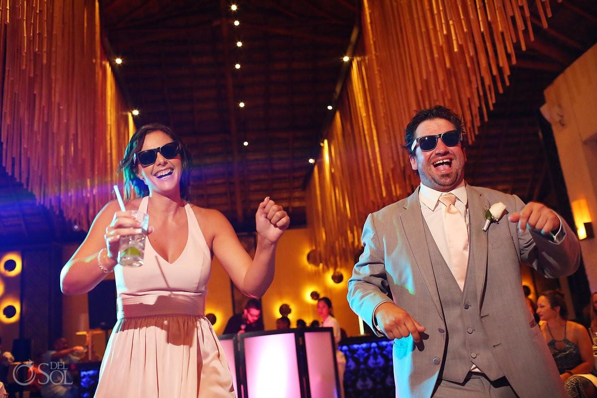fun wedding party entrances destination wedding reception Gabi Club Paradisus La Perla, Playa del Carmen, Mexico.