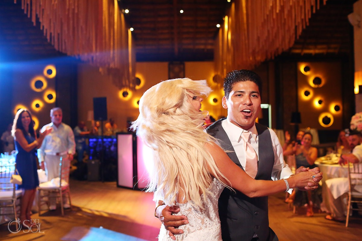 first dance destination wedding reception Gabi Club Paradisus La Perla, Playa del Carmen, Mexico.
